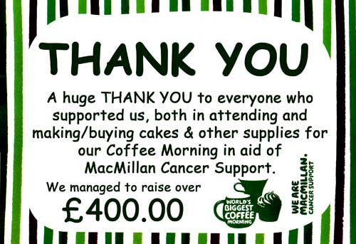 Join us for the Great Big Two Day Coffee Morning in aid of MacMillan Cancer Support